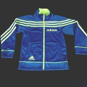 Adidas Kids Jacket Sz 5 Blue/Neon Yellow Stripe